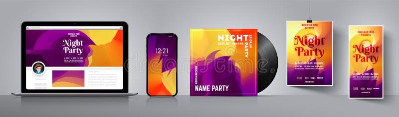 Partireklambladmall Orientering av CDräkningen Affischmall för diskoparti Tapet för ditt smartphone eller baner stock illustrationer