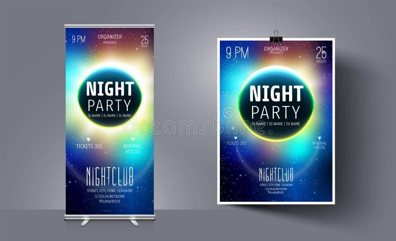 Partireklambladmall på bakgrunden av månen och utrymmet abstrakt bakgrundsvektor Nattklubbreklamblad Galaxillustration vektor illustrationer