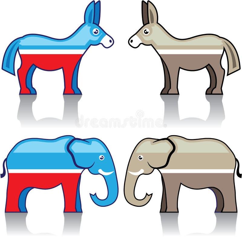 Partis politiques d'âne et d'éléphant illustration libre de droits