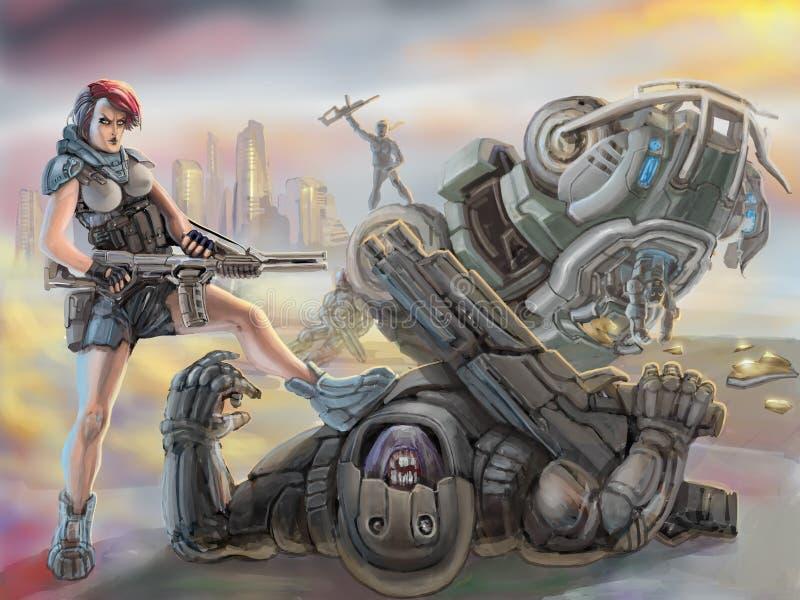 Partisan girl in armor stands over defeated stranger alien. Science fiction illustration. vector illustration