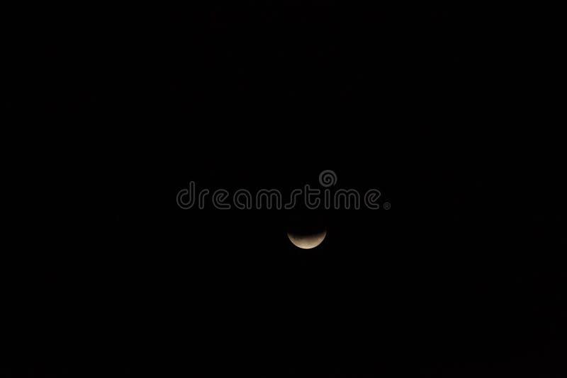Partisk månförmörkelse, Breaza, Rumänien, 17 Juli 2019 royaltyfria foton