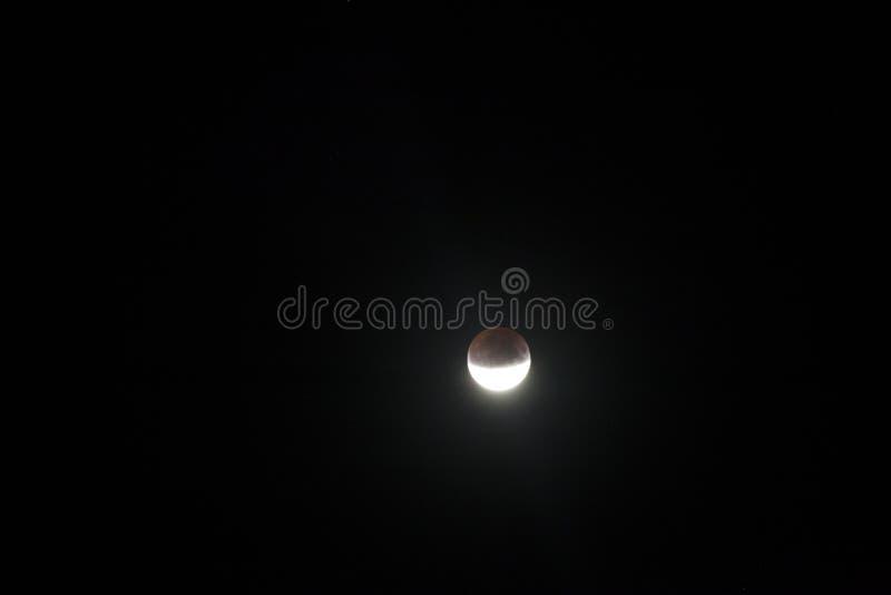 Partisk månförmörkelse, Breaza, Rumänien, 17 Juli 2019 royaltyfria bilder
