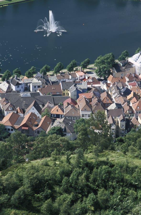 Partisk sikt av Bergen, Norge arkivbild
