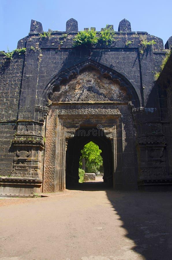 Partisk sikt av fortet Panhala, Kolhapur, Maharashtra arkivbilder