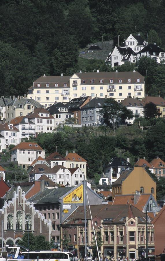 Partisk sikt av husen i Bryggen, Bergen, Norge royaltyfri bild