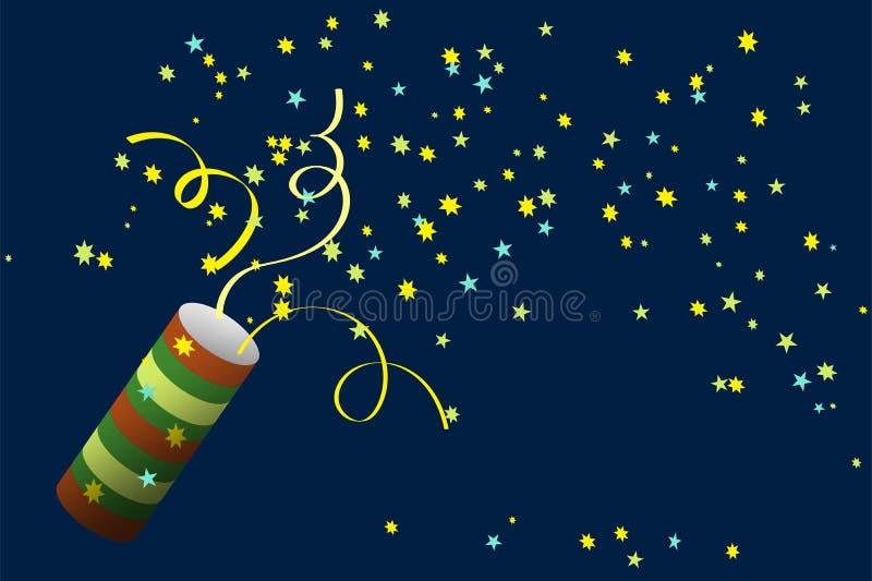 Partismällare med konfettier Fira ett nytt år, födelsedag, årsdag stock illustrationer