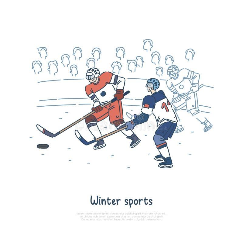 Partita del hockey su ghiaccio, sportivi professionisti che indossano attrezzatura protettiva, giocatori sul modello dell'insegna illustrazione vettoriale