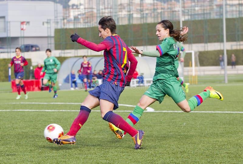 Partita di calcio delle donne - FC Barcelona contro Levante fotografie stock
