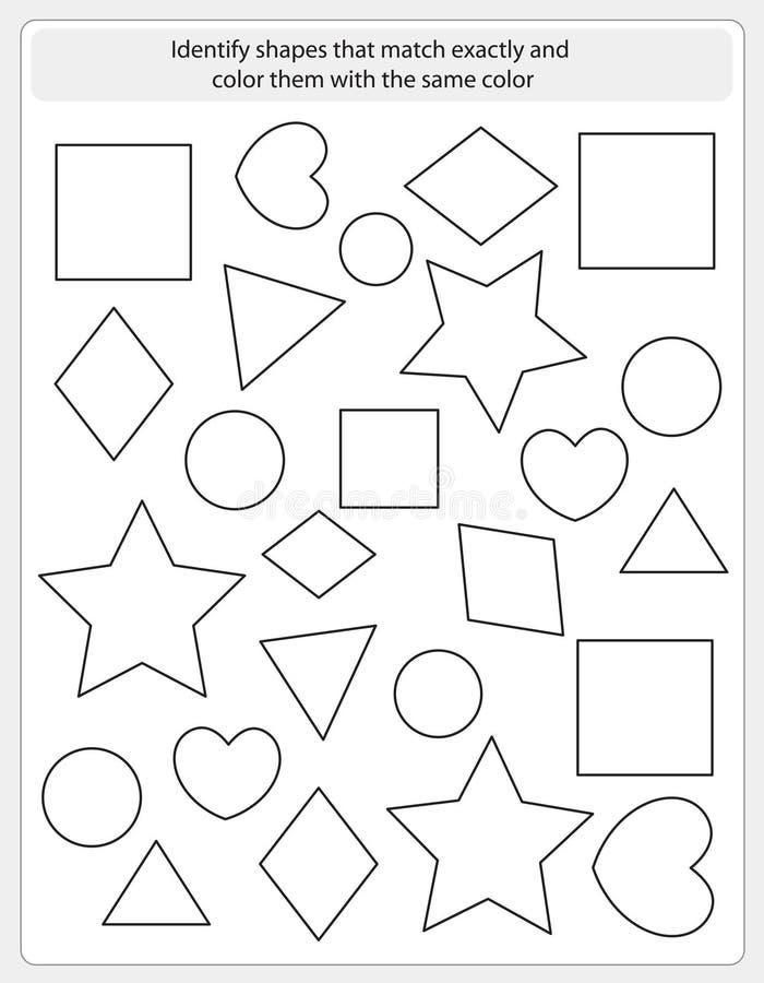 Partita e colore del foglio di lavoro dei bambini royalty illustrazione gratis