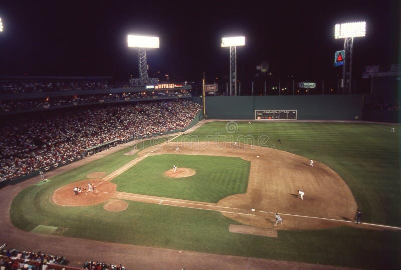 Partita notturna d'annata a Fenway Park, Boston, mA immagine stock libera da diritti