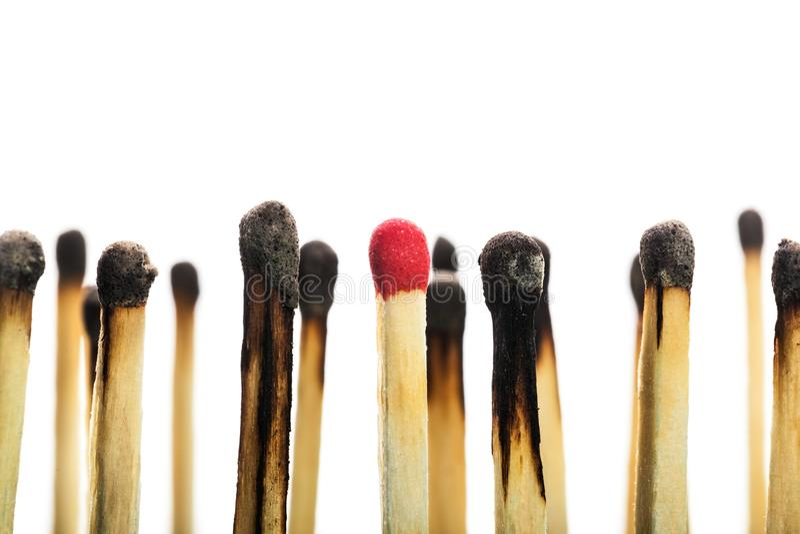 Partite bruciate con un nuovo isolate su bianco fotografie stock libere da diritti