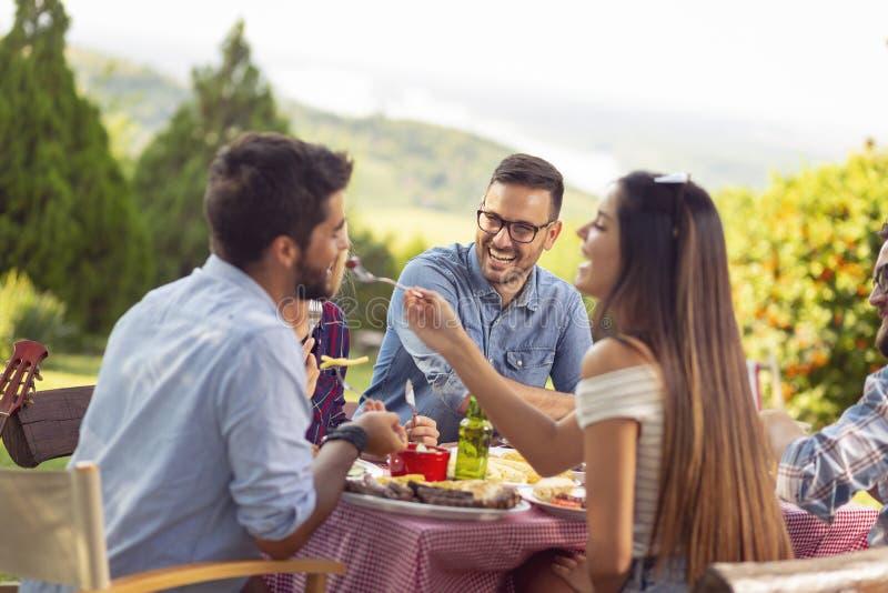 Partito all'aperto del barbecue fotografia stock