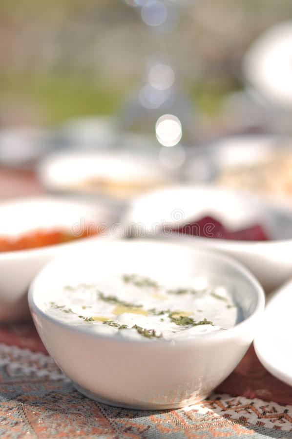 Partito cipriota del barbecue del kebap e del meze nel giardino con i kebaps deliziosi della carne e del pollo della miscela fotografia stock
