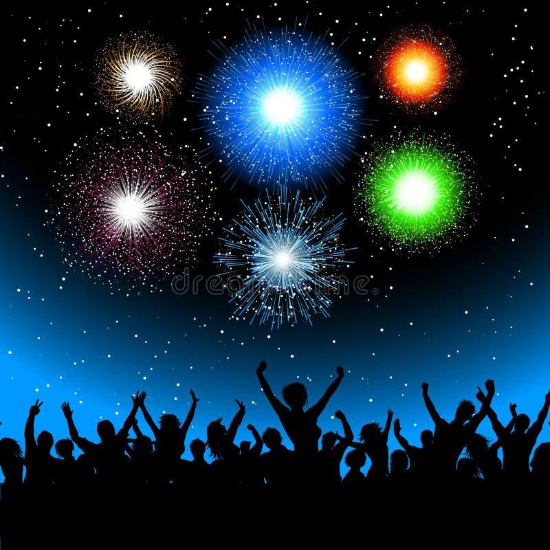 Partito con i fuochi d'artificio illustrazione vettoriale