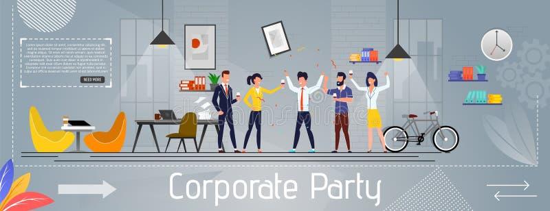 Partito corporativo ed affare felice Team Banner illustrazione di stock