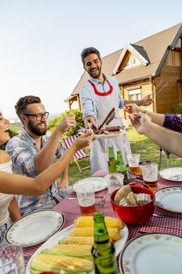 Partito del barbecue del cortile fotografia stock