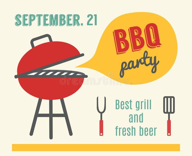 Partito del BBQ Cottura della griglia e del barbecue Progettazione piana illustrazione di stock