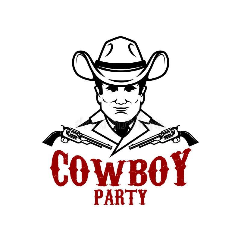 Partito del cowboy Cowboy con i revolver Progetti l'elemento per il logo, l'etichetta, segno illustrazione vettoriale