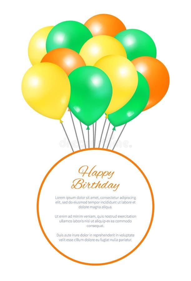 Partito del pacco dei palloni della cartolina di buon compleanno grande illustrazione di stock