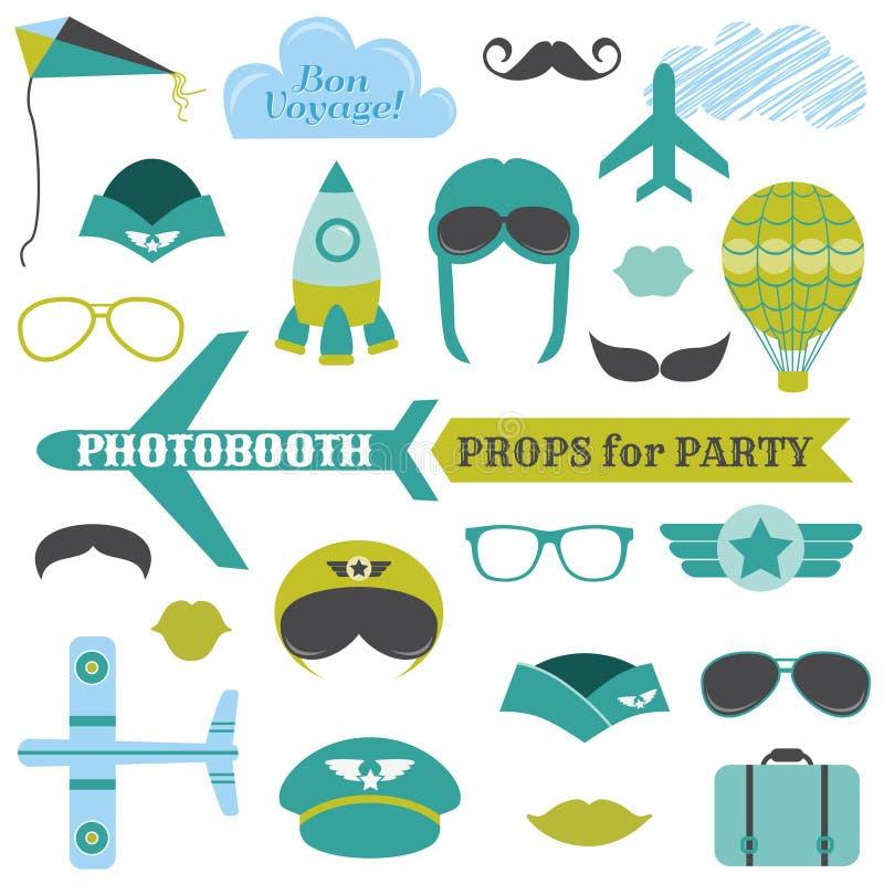 Partito dell'aeroplano messo - puntelli del photobooth illustrazione vettoriale