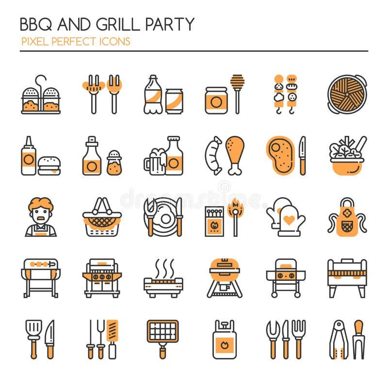 Partito della griglia e del BBQ illustrazione di stock