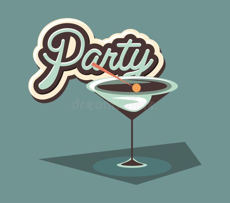 Partito di celebrazione della bevanda del liquore della bevanda del cocktail illustrazione vettoriale