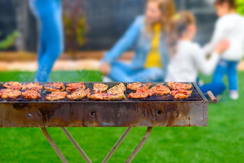 Partito di cena, bbq sul cortile posteriore Momenti felici della famiglia fotografia stock libera da diritti