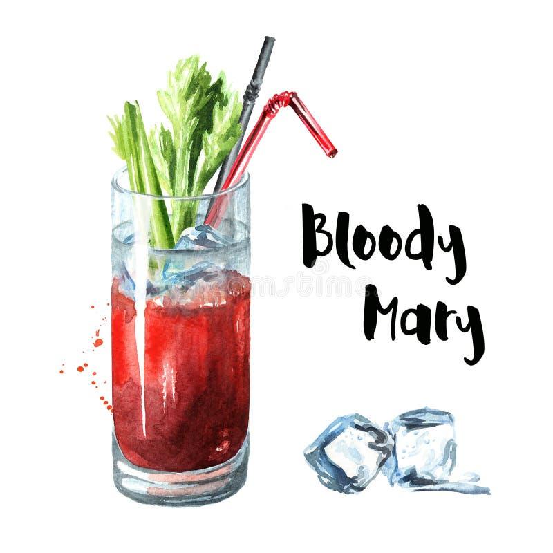 Partito di cocktail Mary sanguinante con sedano Illustrazione disegnata a mano dell'acquerello, isolata su fondo bianco illustrazione vettoriale