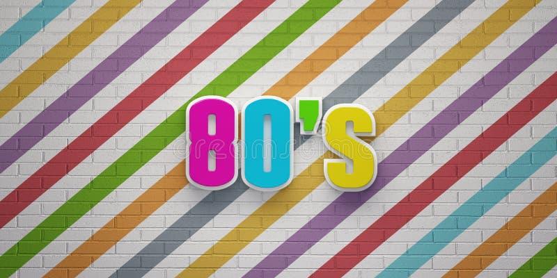 partito di discoteca 80s sull'insegna di muro di mattoni variopinta delle bande 3d rendono l'illustrazione illustrazione vettoriale