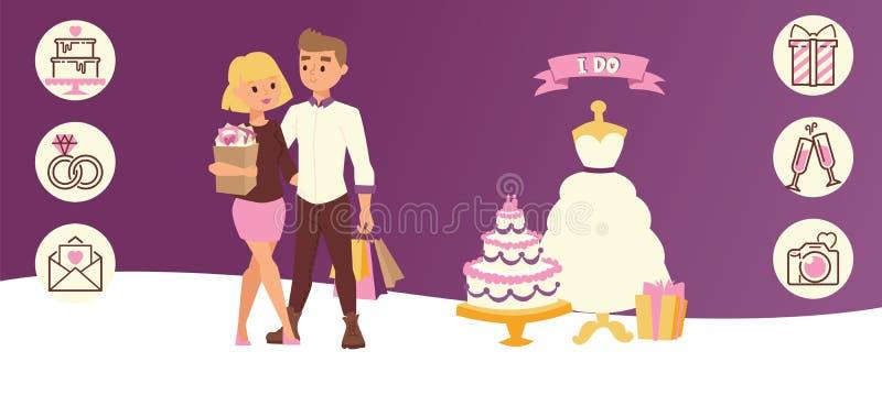 Partito di giorno delle nozze per appena l'illustrazione orizzontale di vettore dell'insegna della coppia sposata Sposa che anser illustrazione di stock