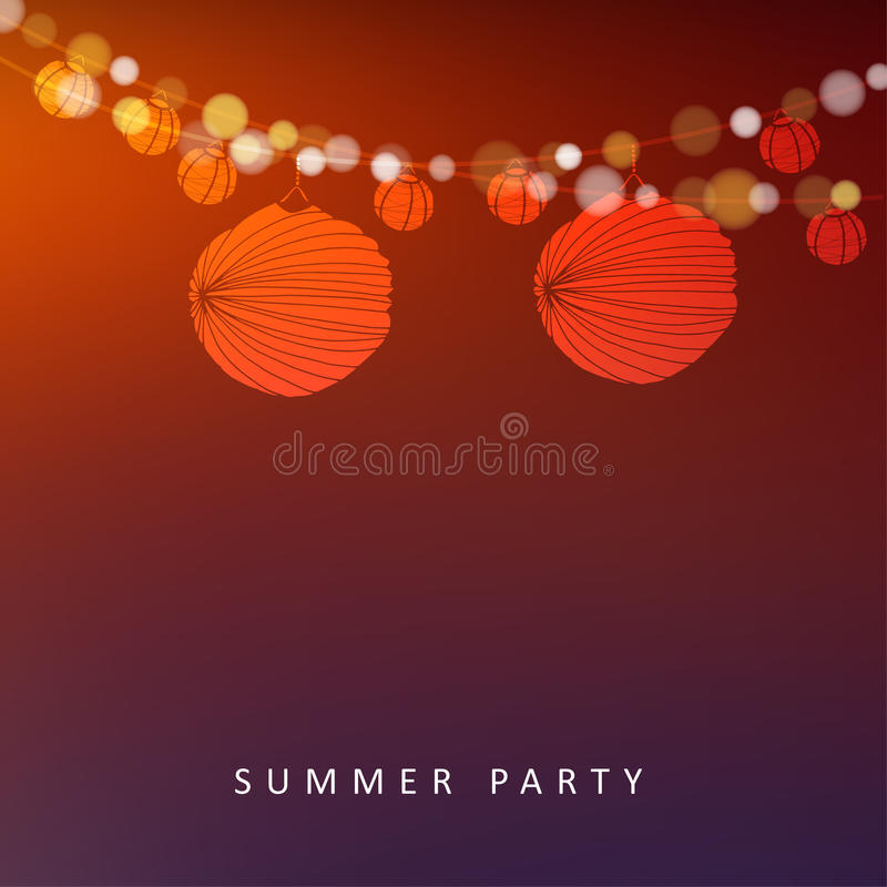 Partito di giugno del brasiliano o di estate, fondo con la ghirlanda delle luci e lanterne di carta royalty illustrazione gratis