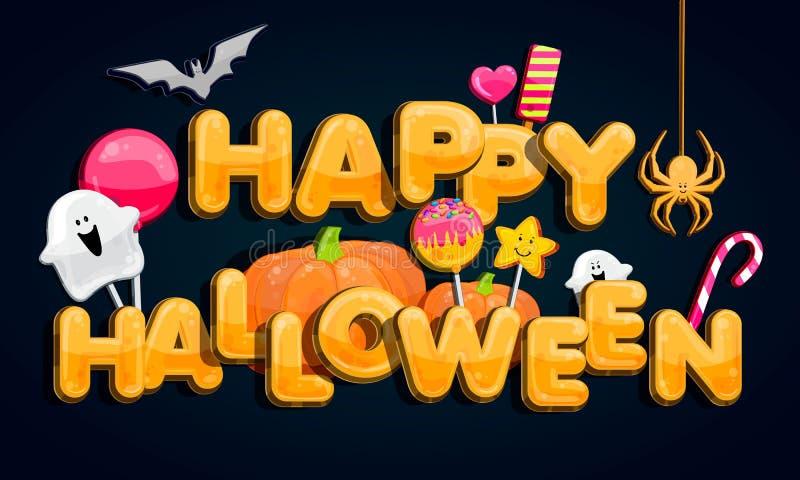 Partito di Halloween Partito della lanterna di Jack O Toppa della zucca di Halloween nella luce della luna Illustrazione di vetto illustrazione vettoriale
