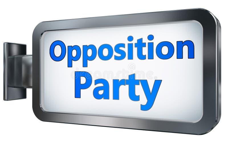 Partito di opposizione sul fondo del tabellone per le affissioni illustrazione di stock
