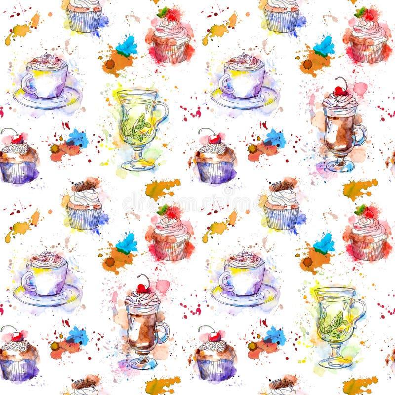 Partito di tempo del tè che ripete modello Dolci del bigné, tè, tazza di caffè royalty illustrazione gratis