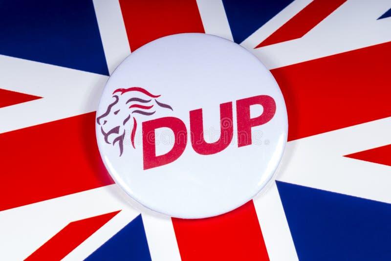 Partito di unionista democratico e la bandiera BRITANNICA fotografia stock