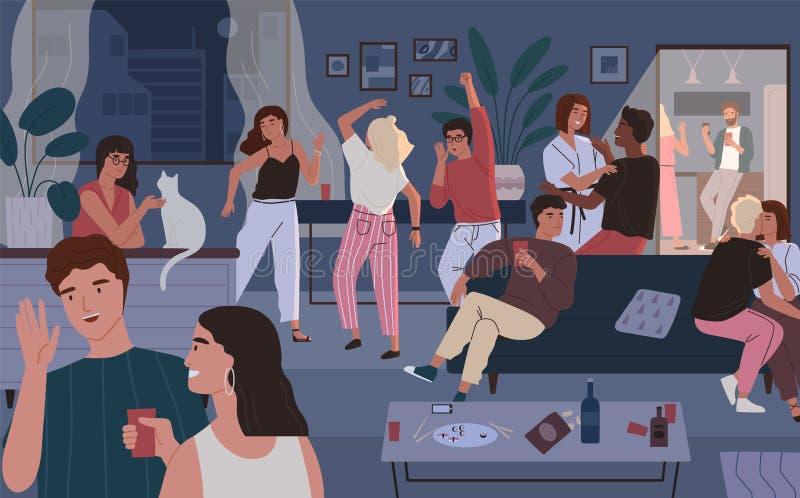 Partito felice degli amici a casa Appartamento o salone in pieno della gente divertendosi, ballando e parlando Giovani uomini sve royalty illustrazione gratis