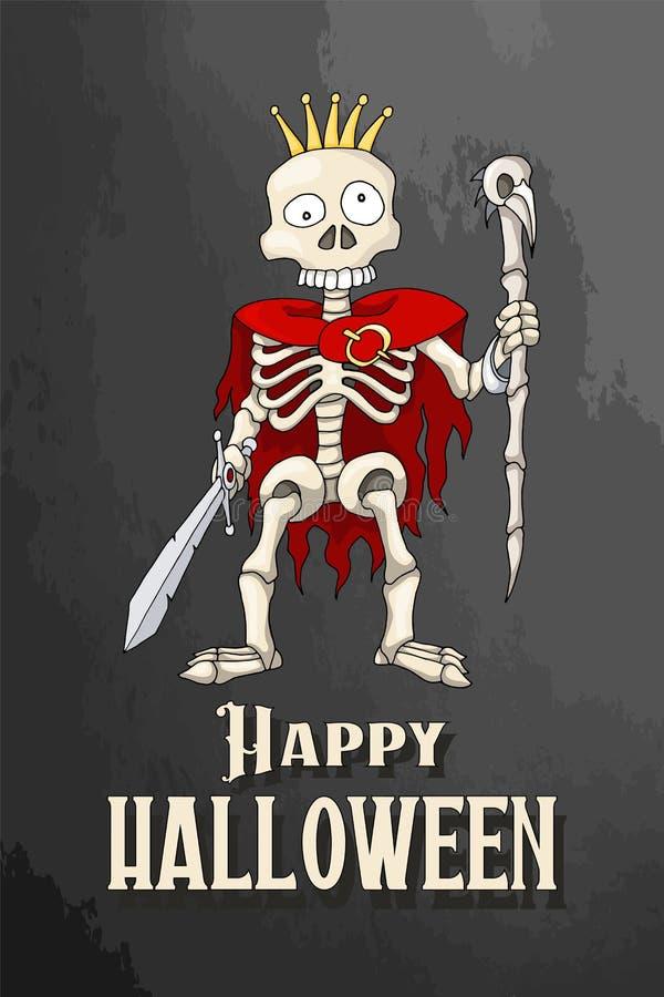 Partito felice di Halloween con l'invito o la cartolina di scheletro del fumetto illustrazione vettoriale