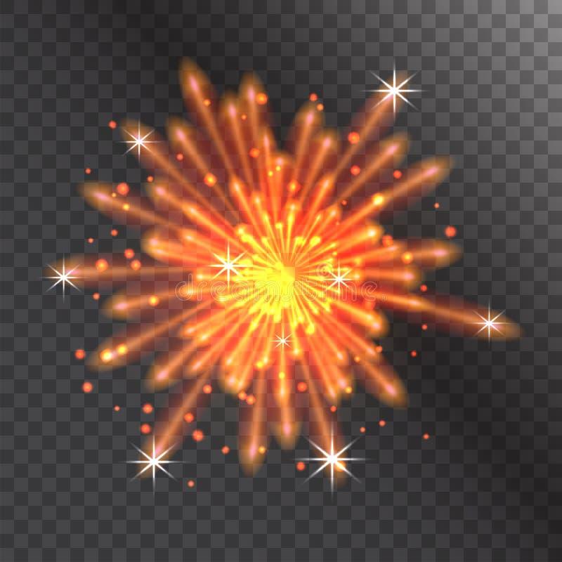 Partito festivo della luce di esplosione di notte di evento di festa di celebrazione dell'illustrazione di vettore del fuoco d'ar illustrazione vettoriale