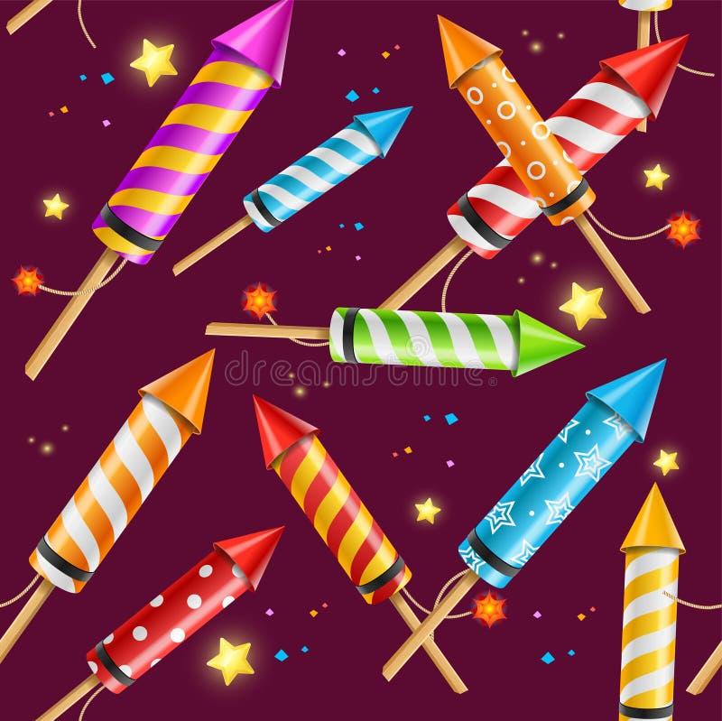 Partito Rocket Fireworks Background Pattern Vettore illustrazione vettoriale