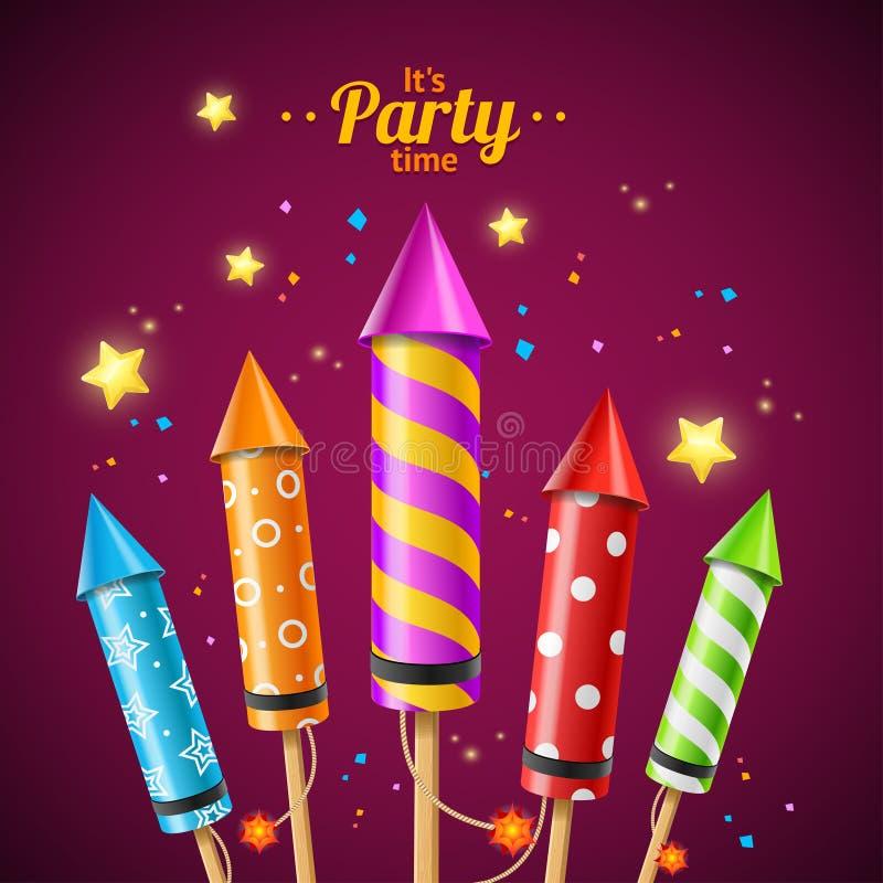 Partito Rocket Fireworks Flyer Card Vettore illustrazione vettoriale