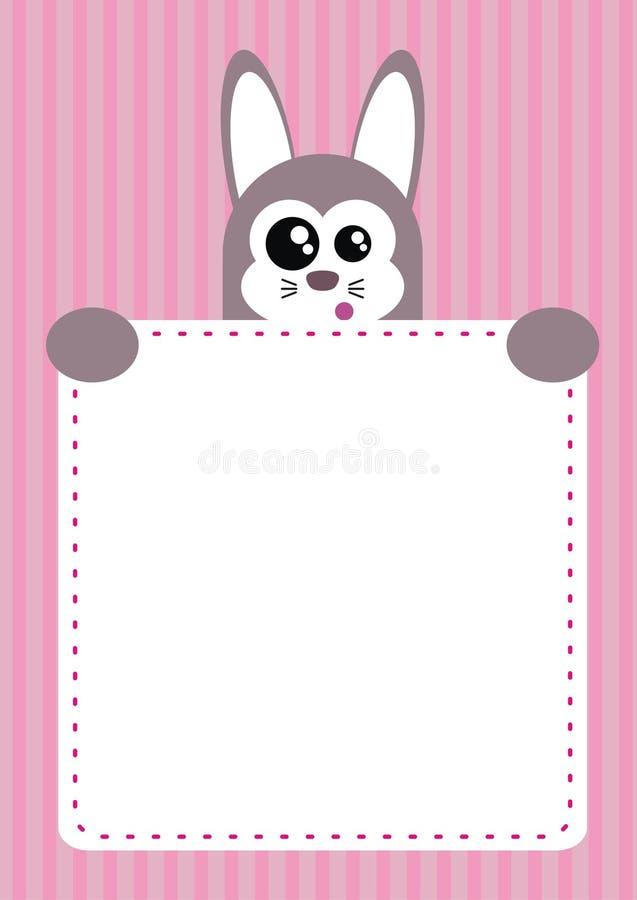 Partito sveglio dell'invito dei bambini del coniglietto illustrazione vettoriale