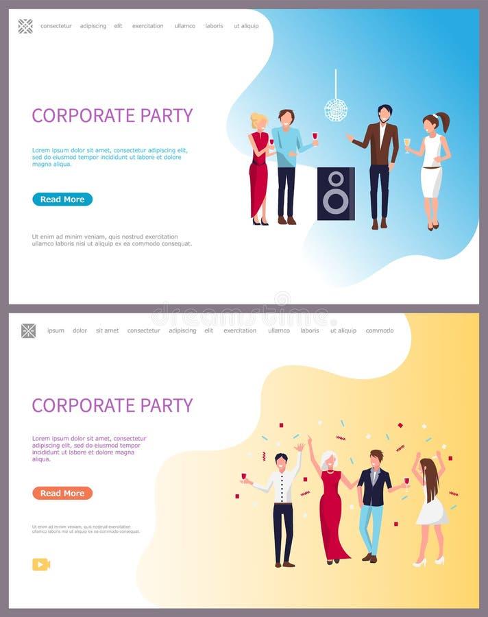 Partito, uomini d'affari e donne di affari corporativi royalty illustrazione gratis