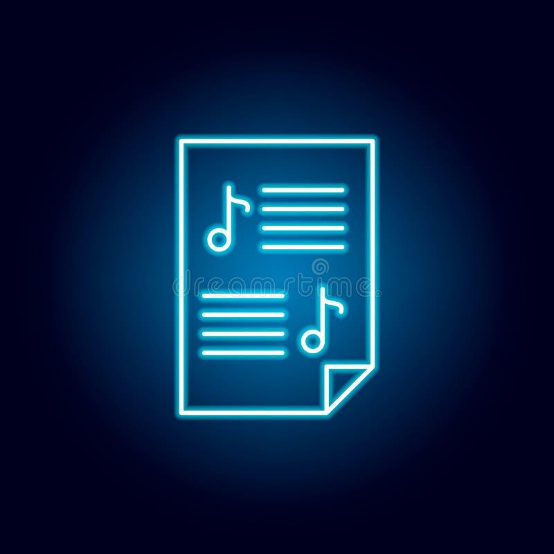 partitura, contagem, ícone do esboço do papel no estilo de néon elementos da linha ícone da ilustração da educação os sinais, sím ilustração stock