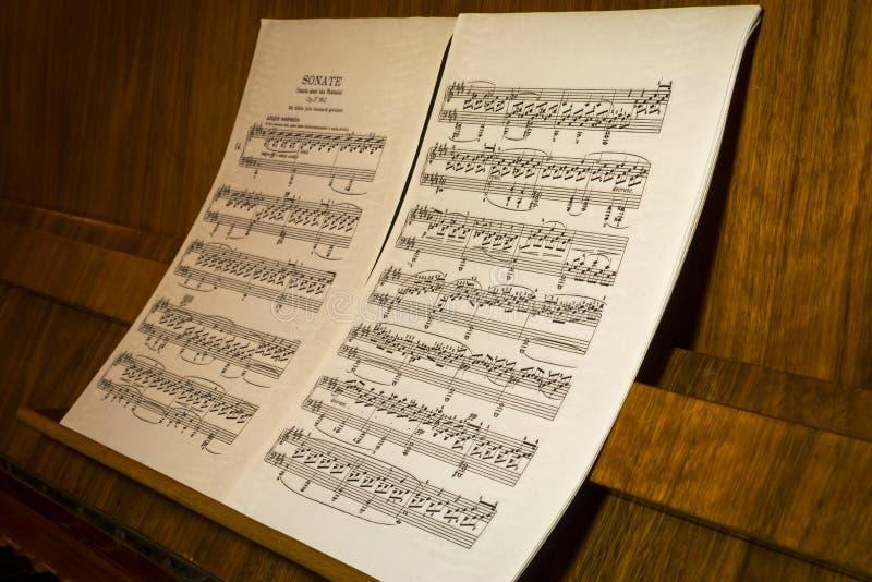 Partitura musical - sonata imagen de archivo