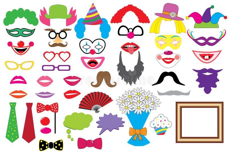 Partiuppsättning clowner Exponeringsglas hattar, kanter, peruker, mustascher, band vektor illustrationer