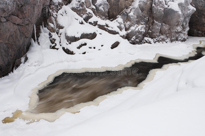 Partly frozen river at winter stock images