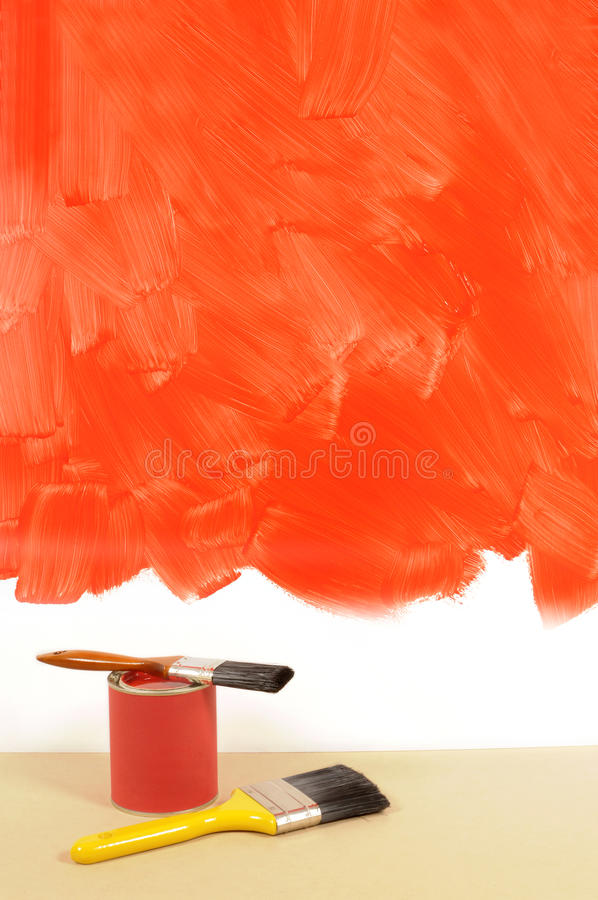 Red Wall Paint home decorating - unfinished painted red wall, paint can