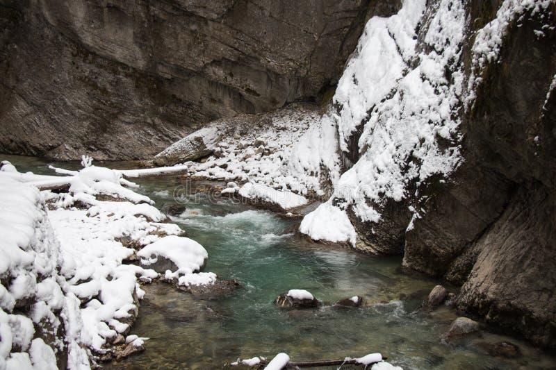 Partnach wąwóz w zima czasie Garmisch-Partenkirchen Niemcy obrazy royalty free