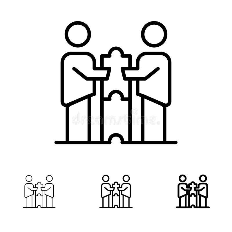 Partnerów współpracy, biznesu, współpracy, partnerów, partnerstwa czerni linii ikony set, Śmiały i cienki royalty ilustracja