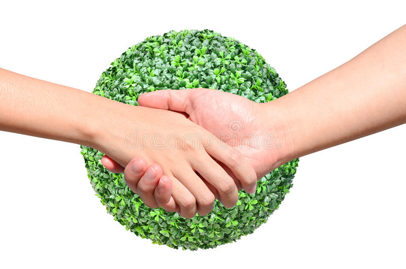 Partner hand on green planet world